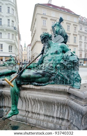 statue of Donnerbrunnen fountain, (Allegory of Enns river), Vienna, Austria