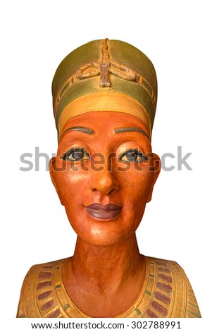 statue of egyptian woman with golden skin - stock photo