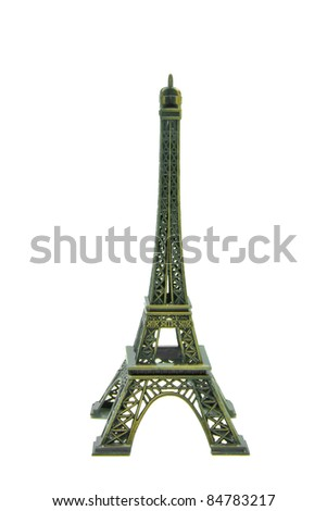 Statue of eiffel tower isolated on white