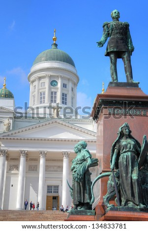 Statue of Emperor Alexander II of Russia in front of the Helsinki Cathedral in Helsinki, Finland
