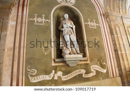 Statue of Emperor Charles V at Montserrat Abbey, Catalonia, Spain. - stock photo