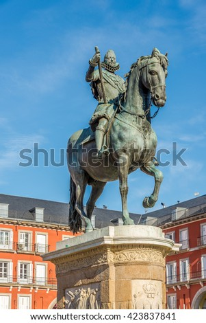 Statue of Felipe III at the Mayor Place in Madrid - Spain