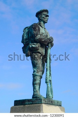 Statue of foot solider - stock photo
