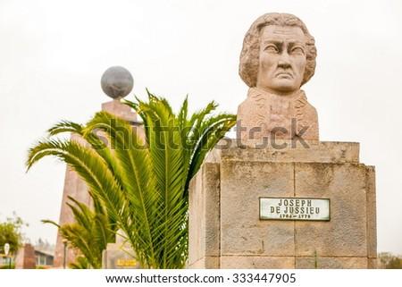 Statue Of French Astronomer Joseph De Jussieu Equator Monument In The Background Quito Ecuador - stock photo