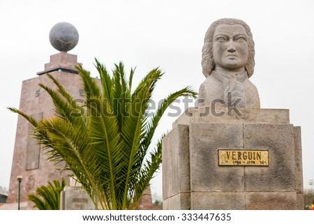 Statue Of French Astronomer Verguin Equator Monument In The Background Quito Ecuador - stock photo