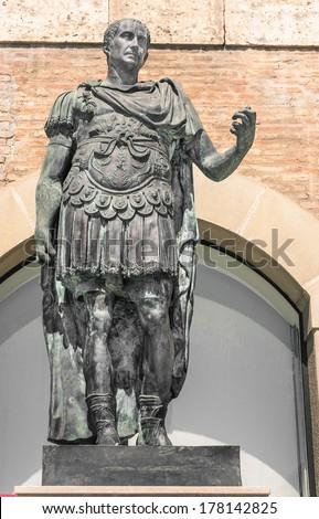 Statue of Gaius Julius Caesar in Rimini, Italy  - stock photo