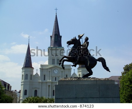 Statue of General Andrew Jackson in New Orleans before the St Louis Cathedral - stock photo