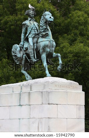 Statue of George Washington riding a horse - stock photo