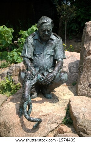 Statue of Gerald Durrell - stock photo