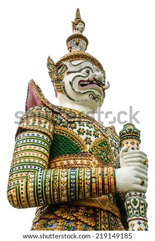Statue of Giant at Wat Arun. Wat Arun or Temple of the Dawn is one of a famous Buddhist temple in the Bangkok, Thailand. - stock photo
