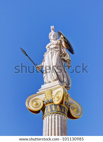 Statue of goddess Athena, Athens, Greece