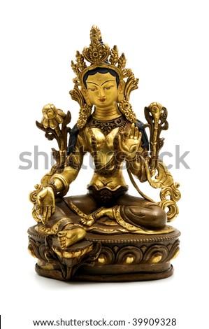 Statue of Green Tara on a white background - stock photo