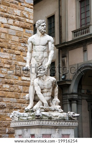 Statue of Hercules and Cacus by Bandinelli, Florence, Italy - stock photo