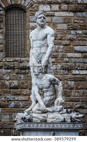 Statue of Hercules and Cacus on Piazza della Signoria, Florence  - stock photo
