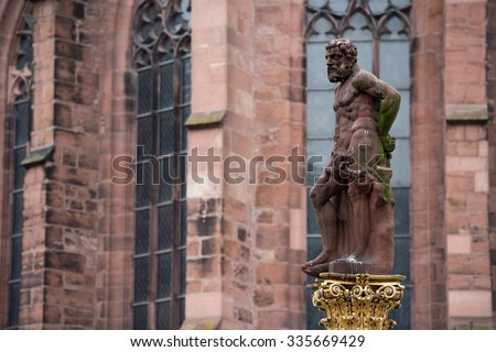 Statue Of Hercules In Market Square Heidelberg Germany - stock photo