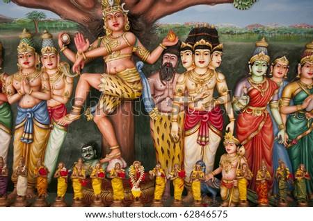 Statue of Hindu God in Sri Mahamariamman Indian Temple, Kuala Lumpur, Malaysia - stock photo