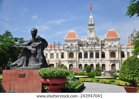 Statue of Ho Chi Minh and People's Committee Building in Ho Chi Minh City, Vietnam.