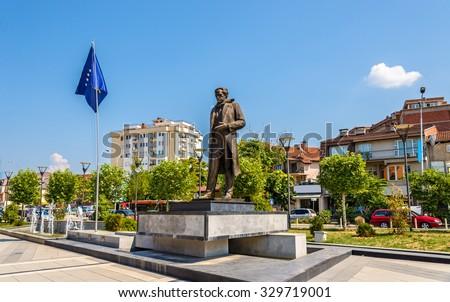 Statue of Ibrahim Rugova in Pristina - Kosovo - stock photo