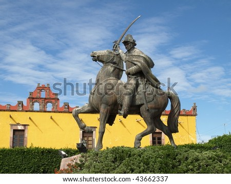 Statue of Ignacio Allende in Plaza Civica, San Miguel de Allende, Mexico - stock photo