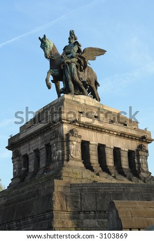 Statue of imperator Wilhelm at the Deutsches Eck in Koblenz - stock photo