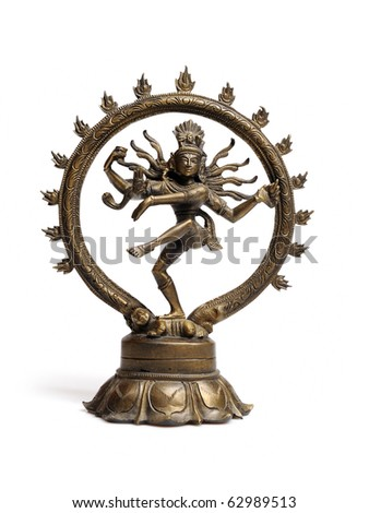 Statue of indian hindu god dancing Shiva Nataraja. isolated on white background - stock photo