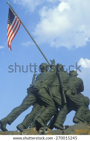 Statue of Iwo Jima, U.S. Marine Corps Memorial at Arlington National Cemetery, Washington D.C. - stock photo