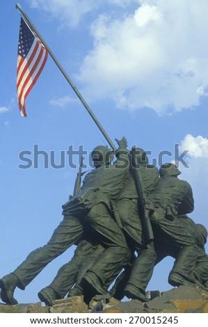 Statue of Iwo Jima, U.S. Marine Corps Memorial at Arlington National Cemetery, Washington D.C. - stock photo