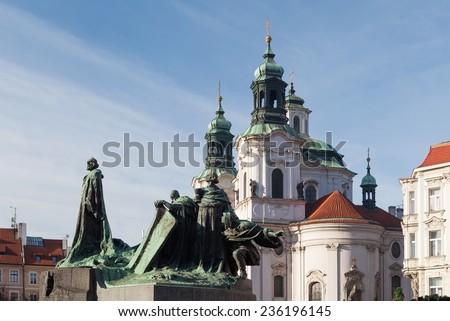 Statue of Jan Hus. Old Town Square, Prague, Czech Republic - stock photo