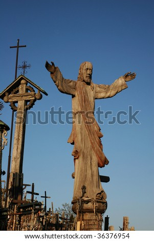 Statue of Jesus Christ (Hill of Crosses, Lithuania ) - stock photo
