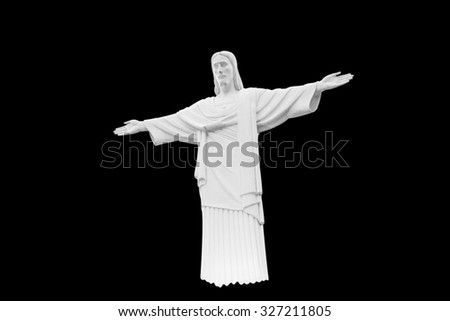 Statue of Jesus Christ Sacred Heart Christianity symbol isolated on black background with clipping path - stock photo