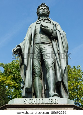 Statue of Johann Christoph Friedrich von Schiller, a German poet, philosopher, historian and playwright