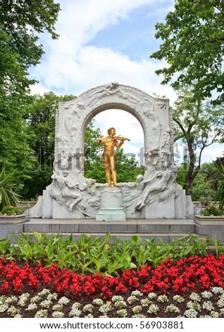 Statue of Johann Strauss in Vienna Stadtpark - stock photo