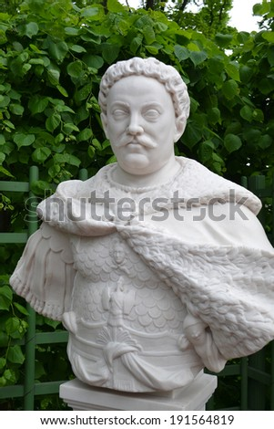 Statue of John Sobieski in Summer Garden, St.Petersburg, Russia.
