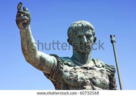 statue of Julius Caesar Augustus in Rome, Italy - stock photo