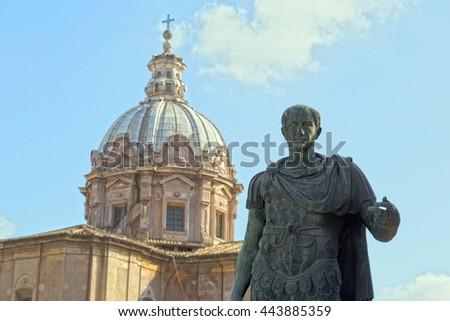 Statue of Julius Caesar in Rome, Italy - stock photo