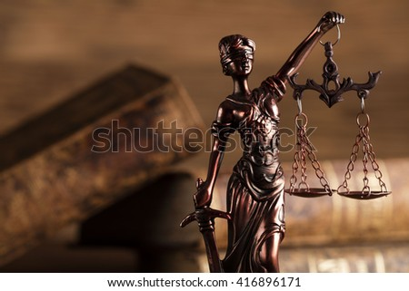 Statue of justice, burden of proof, law theme  - stock photo