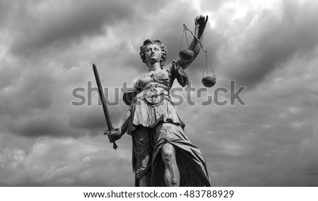 Statue of justice goddess (Justitia), Black and white