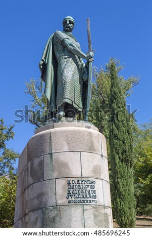 Statue of King Afonso Henriques by the Sacred Hill in the city of Guimaraes. The first king of Portugal in the 12th century. UNESCO World Heritage Site.