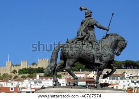 Statue of King Joao I at Figueiroa Square, Lisbon - stock photo
