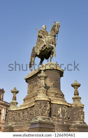 Statue of King Johann (1801-1873) in front of Semper Opera in Dresden, Germany. Statue of King designed by Johannes Schilling in 1889. - stock photo