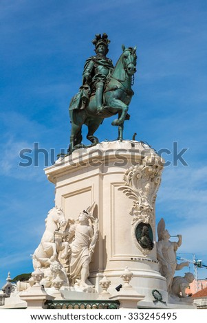 Statue of King Jose I in Lisbon, Portugal in a beautiful summer day - stock photo