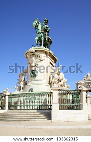 Statue of king Jose on the Commerce square in Lisbon. Portugal - stock photo
