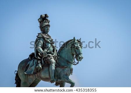 statue of King Jose on the Commerce square (Praca do Comercio) in Lisbon, Portugal - stock photo