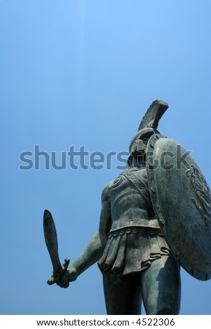 Statue of king Leonidas in Sparta, Greece - stock photo