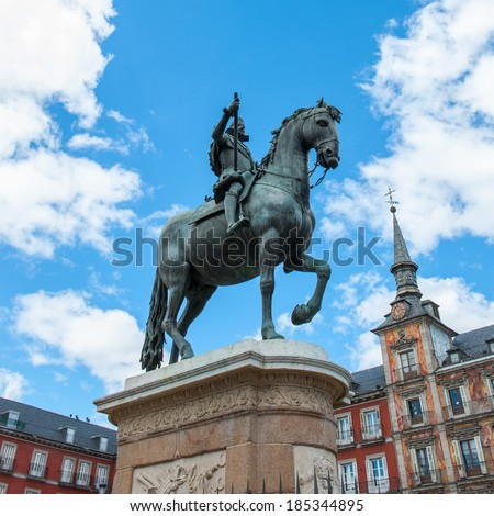 Statue of King Philip III  on the Plaza Mayor, Madrid, Spain. It's the Spanish Property of Cultural Interest - stock photo