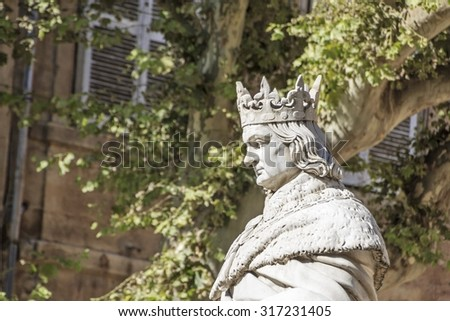 Statue of King Rene in Aix-en-Provence, France - stock photo