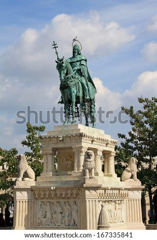 Statue of King Saint Stephen at Fisherman's Bastion in Budapest - stock photo