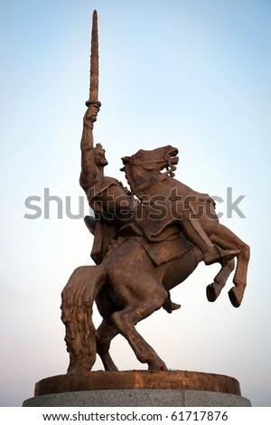 statue of King Svatopluk in Bratislava, Slovakia - stock photo