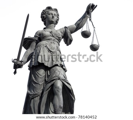 Statue of Lady Justice from Frankfurt, on white. The statue was erected in the 19th century and is in the public domain. - stock photo