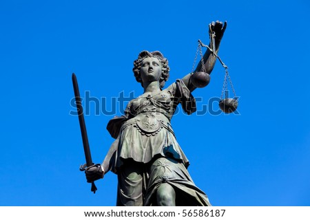 Statue of Lady Justice in Frankfurt, Germany. - stock photo